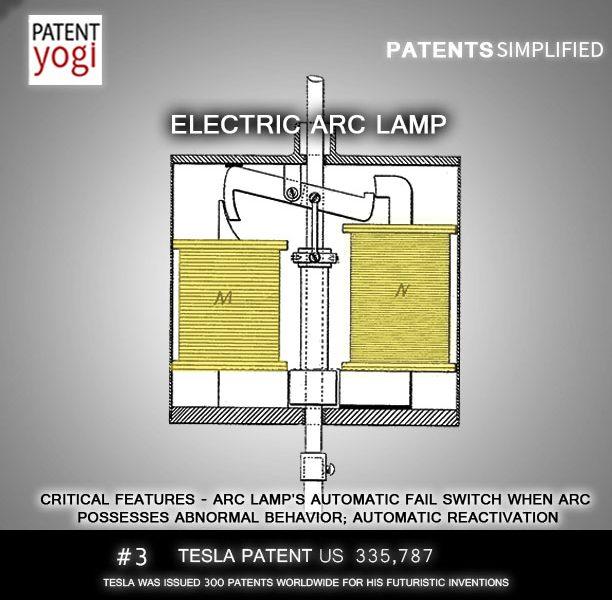 Nikola Tesla Patent 3 Electric Arc Lamp US 335787
