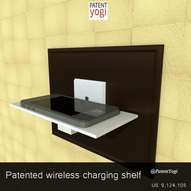 PatentYogi_Wireless charging-shelf_US 9,124,105