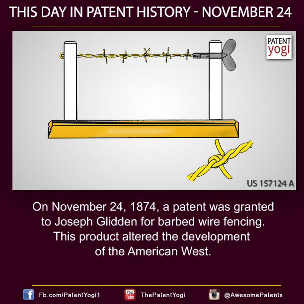 This Day in Patent History On November 24 1874 a patent was – Joseph Gidden Barbed Wire Diagram
