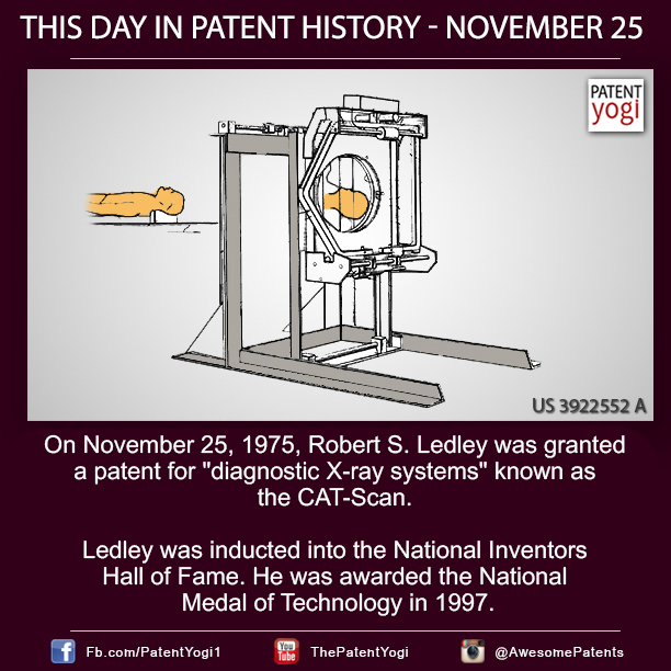 On November 25, 1975 Robert SLedley was granted a patent for diagnostic X-ray systems known as the CATScan