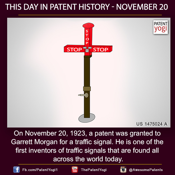 PatentYogi-On-November-20-1923-a-patent-was-granted-to-Garrett-Morgan-for-a-traffic-signal