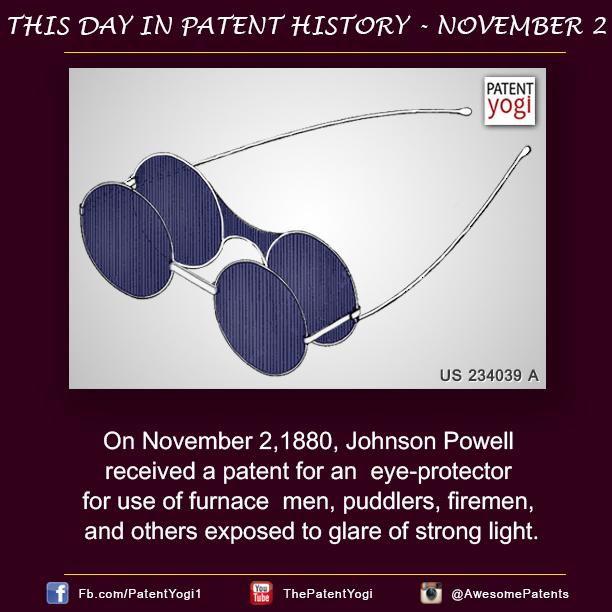 This Day in Patent History - On November 2,1880, Johnson Powell received a patent for an eye-protector - Patent Yogi LLC