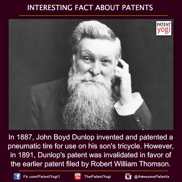 Patentyogi-In-1887-John-Boyd-Dunlop-invented-and-patented-a-pneumatic-tire-for-use-on-his-son's-tricycle