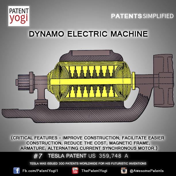 Nikola Tesla Patent #7 – Dynamo electric machine – US 359748 ...