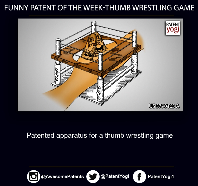 PatentYogi_FunnyPatents_Patented apparatus for a thumb wrestling game
