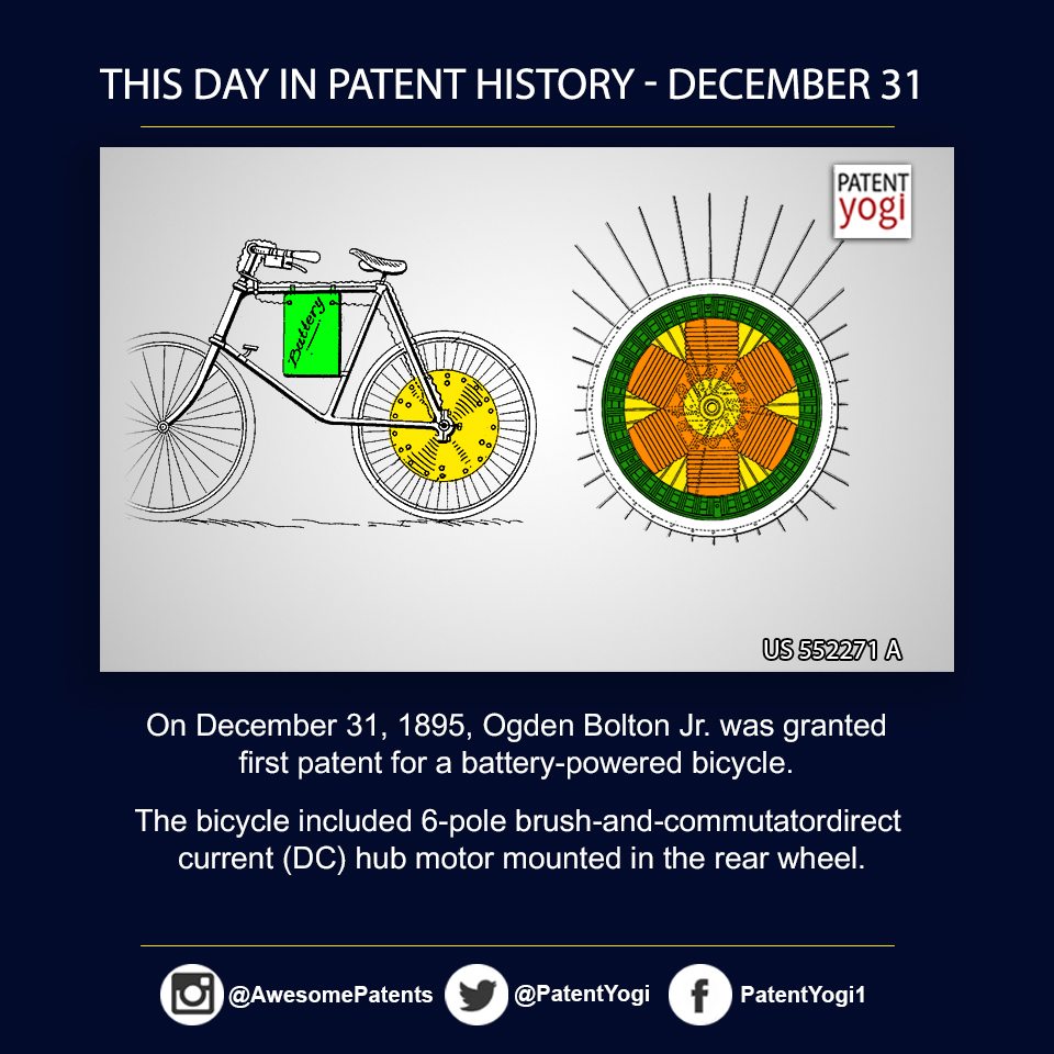 PatentYogi_On December 31, 1895, Ogden Bolton Jr was granted first patent for a battery-powered bicycle