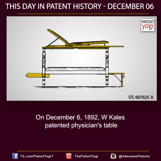 PatentYogi_On December 6, 1892, W Kales patented physician's table
