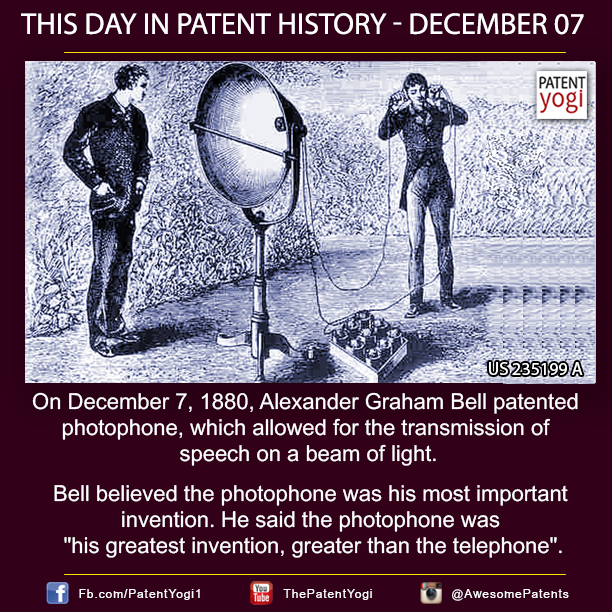 PatentYogi_On December 7, 1880, Alexander Graham Bell patented photophone, which allowed for the transmission of speech on a beam of light