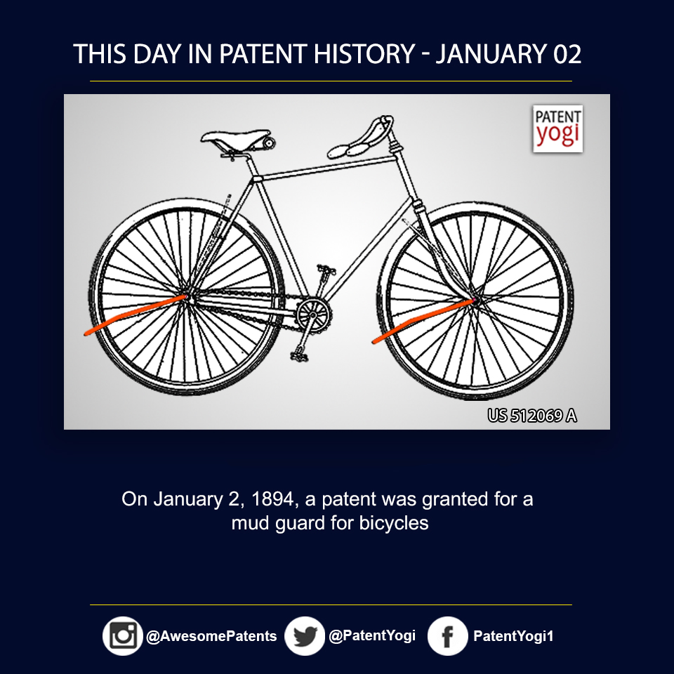 PatentYogi_On January 2, 1894, a patent was granted for a mud guard for bicycles