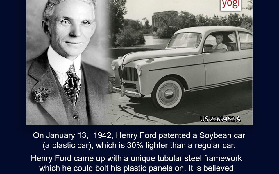 This Day in Patent History - On January 13 1942 Henry Ford patented a Soybean car (a plastic car) which is 30% lighter than a regular car - PatentYogi  sc 1 st  PatentYogi & This Day in Patent History - On January 13 1942 Henry Ford ... markmcfarlin.com