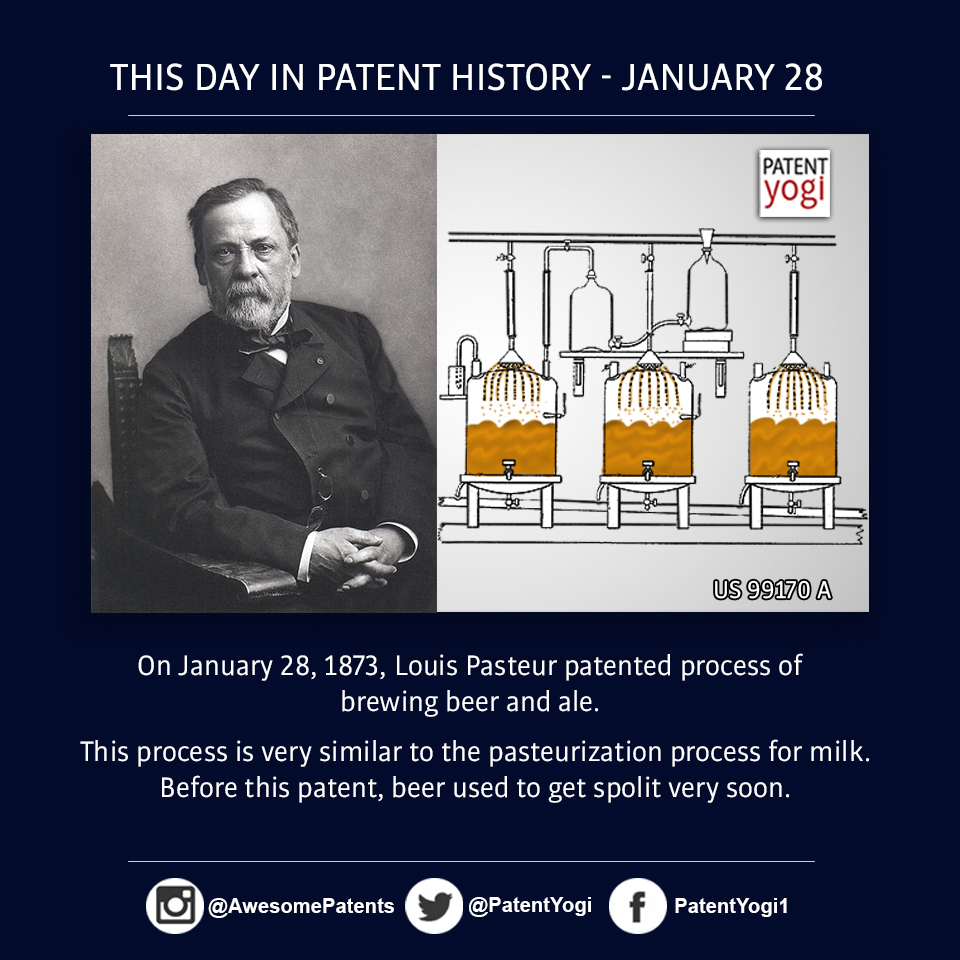 PatentYogi_On January 28, 1873, Louis Pasteur patented process of brewing beer and ale