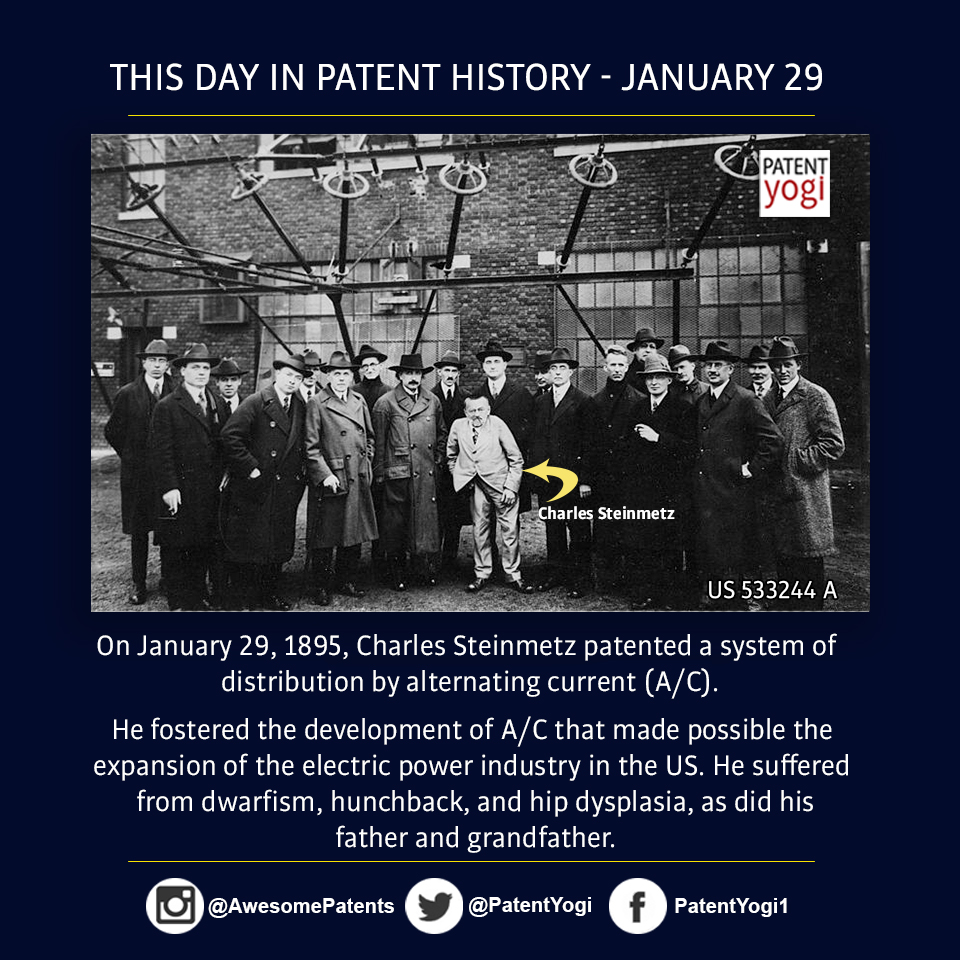 PatentYogi_On January 29, 1895, Charles Steinmetz patented a system of distribution by alternating current