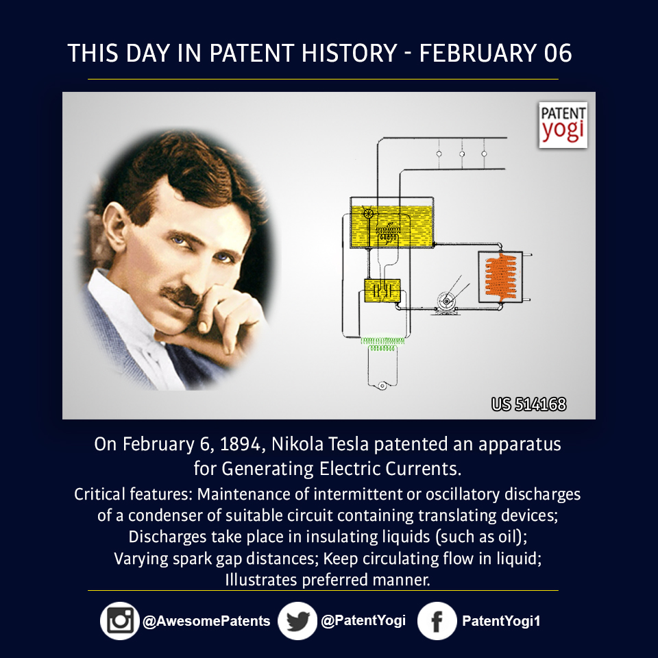 PatentYogi_On February 6, 1894, Nikola Tesla patented an apparatus for Generating Electric Currents