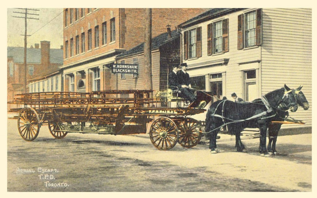 POSTCARD - TORONTO - FIRE DEPARTMENT - HORSE-DRAWN LADDER WAGON - CALLED AERIAL ESCAPE - EARLY