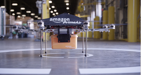 Amazon Prime Air drone holding a package